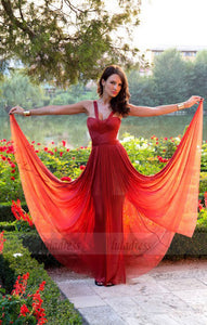 Fashion Spaghetti Burgundy Long Chiffon Prom Evening Dress,BD99819