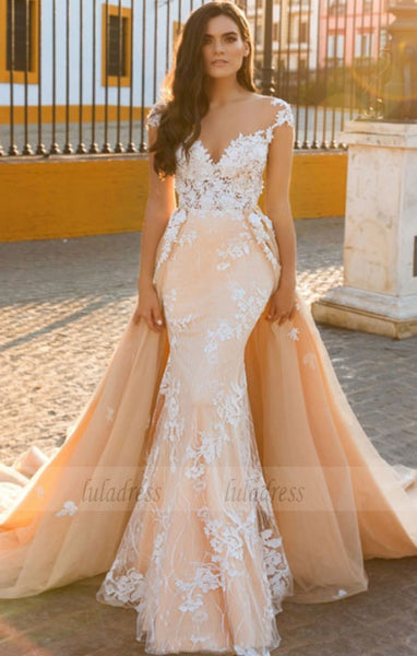 Chiffon Bridal Dress,Wedding Dress With Cap Sleeves,White Brides Dress,Backless Wedding Gowns,BD99636