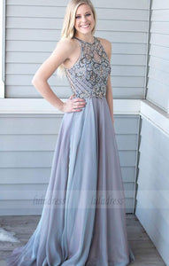 chiffon long prom dresses with beading, elegant crew sweep train evening dresses,BD98674