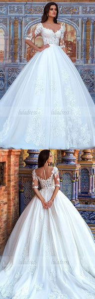 Half Sleeves Wedding Dress with Lace,BD99523