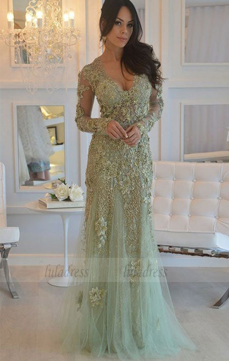 elegant mint prom party dresses with long sleeves, chic v-neck evening gowns with beaded long sleeves,BD98652