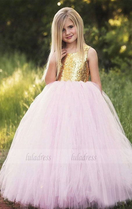 Golden Sequin Flower Girl Dresses .Flower Girl Dresses.Long Flower Girl Dresses,Satin Flower Girl Dresses,BD99209