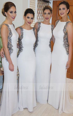 Custom Made White Sleeveless Bateau Neckline with Cut Out Lace Applique Mermaid Bridesmaid Dress,BD99868