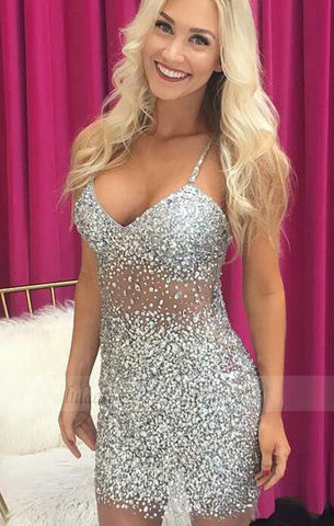 Sexy Spaghetti Straps Prom Dress, Crystal Beading Prom Dresses, Tulle Short Party Dress,BD98258