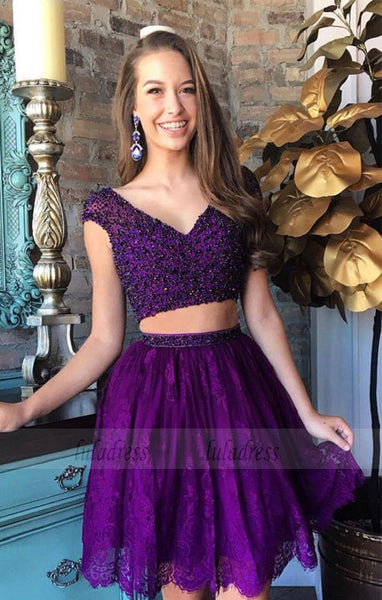 Two Piece Lace Homecoming Dress