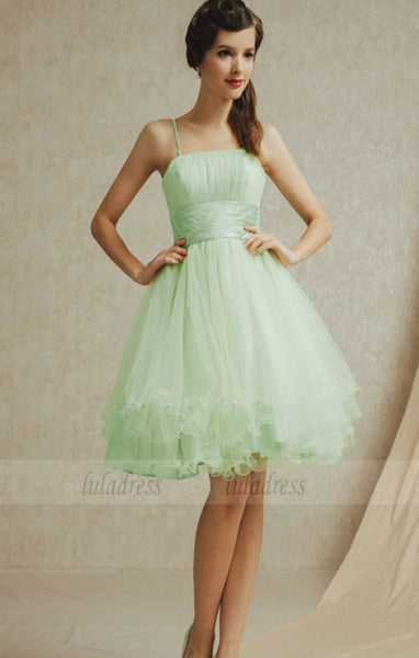 Romantic Tulle A-Line Empire Spaghetti Straps Short Bridesmaid Dress,BD98949