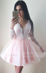 cute a-line blush pink tulle homecoming dresses long sleeves prom short dress,BD98235