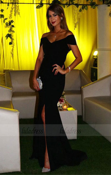 V-neck Off The Shoulder Long Slit Mermaid Prom Dresses Elegant Evening Gowns,BD98156