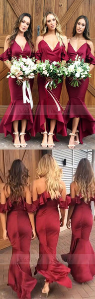 Mermaid Cold Shoulder Burgundy Bridesmaid Dress with Ruffles,BD98294