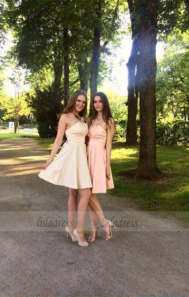 Cute A-Line Strapless Stain Short Homecoming Dress with Bowknot,BD99360
