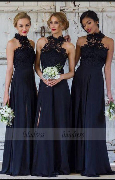 A-Line Navy Blue Chiffon Bridesmaid Dress with Lace,BD99359