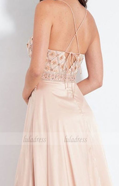 A-Line Spaghetti Straps Sweep Train Beige Prom Dress with Beading Split,BD99547