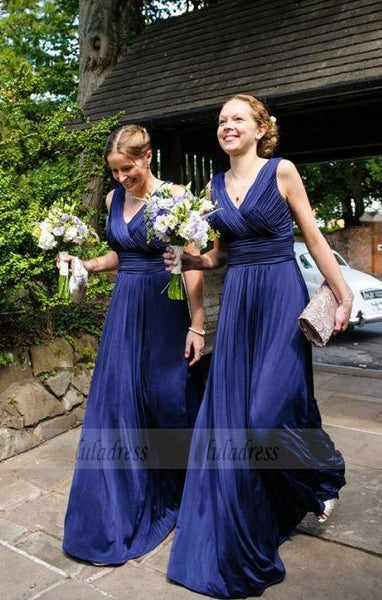 elegant dark blue bridesmaid dress with pleats, fashion v-neck wedding party dress with ruched,BD99602