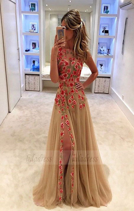 tulle applique long prom dress, evening dress,BD99056