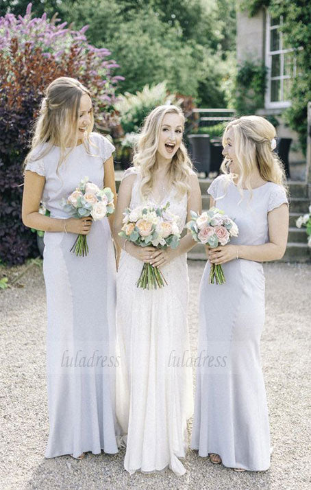 cap sleeves bodycon bridesmaid dresses, lavender wedding party dresses, elegant bridesmaid dresses with lace,BD98097