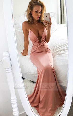 Mermaid Deep V-Neck Sweep Train Blush Prom Dress with Ruched,BD98695
