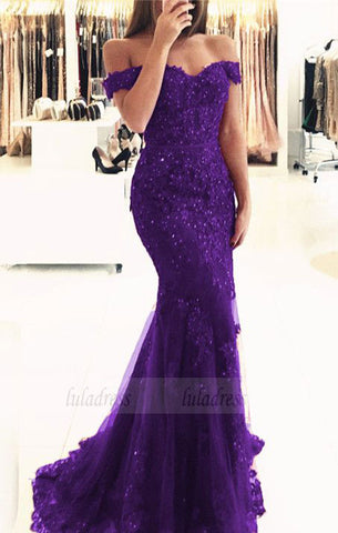 purple lace mermaid prom dresses beaded v neck evening gowns off the shoulder prom dress,BD98057