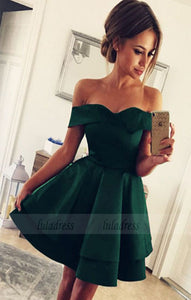 Homecoming Dresses V-neck Off The Shoulder Satin Prom Short Dresses