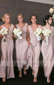 V-Neck Peal Pink Satin Ankle-Length Bridesmaid Dress,BD99352