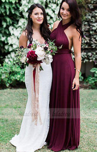 A-Line Halter Burgundy Chiffon Long Bridesmaid Dress,BD99351
