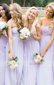 A-Line Sweetheart Chiffon Long Bridesmaid Dress,BD99349