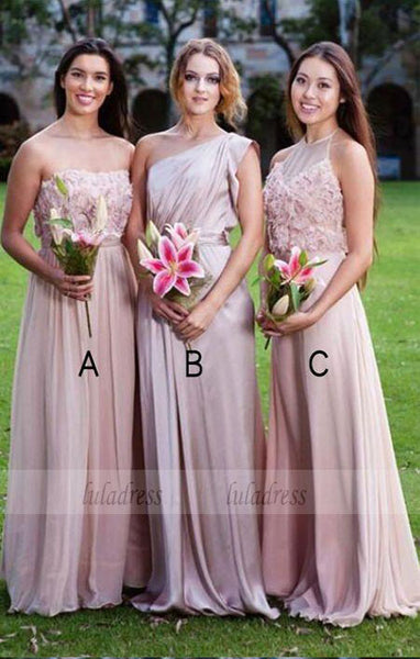 A-Line Sleeveless Pink Chiffon Bridesmaid Dress with Appliques,BD99348