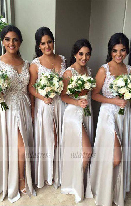 A-Line Scoop Satin Long Bridesmaid Dress with Appliques,BD99347