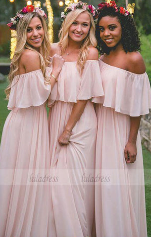 Elegant A-Line Off-the-Shoulder Pink Chiffon Floor-Length Bridesmaid Dress,BD99344