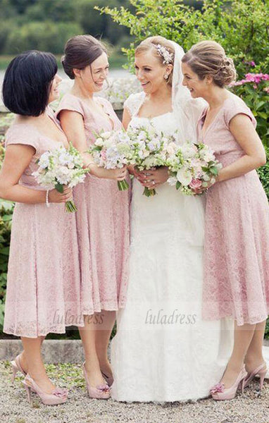 A-Line Deep V-Neck Cap Sleeves Lace Long Bridesmaid Dress,BD99343