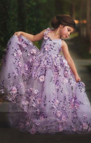 Lace Flowers Flower Girl Dresses Kids Evening Dress,BD99743