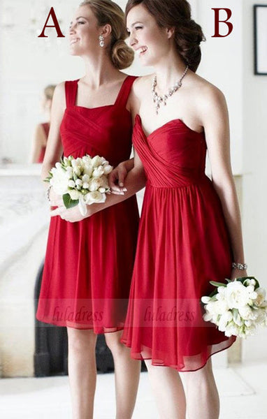 Customisable Red Chiffon Knee Length Mismatched Bridesmaid Dresses,BD99870