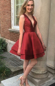 v neck prom short dress,burgundy homecoming dress,short cocktail dresses,BD99905