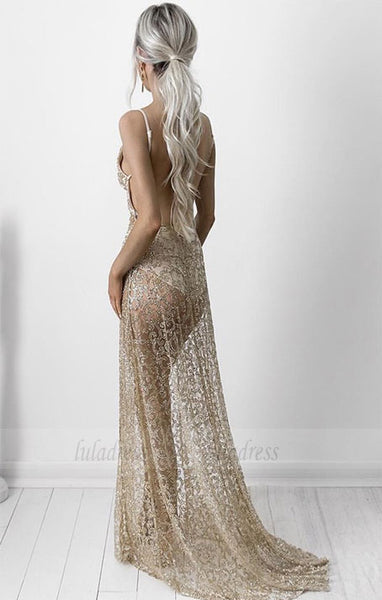 Sheath Spaghetti Straps Lace Prom Dress,BD99775