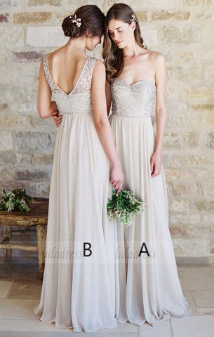 A-Line Sweetheart Light Grey Chiffon Bridesmaid Dress with Lace,BD99842
