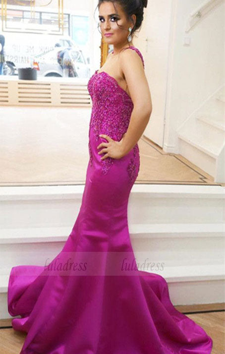 Elegant Lace Appliques Long Satin Mermaid Prom Dresses,BD98155