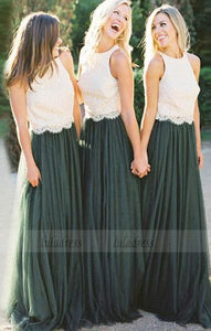 A-Line Bridesmaid Dresses, Round Neck Bridesmaid Dresses, Dark Green Bridesmaid Dresses with white Lace,BD98098