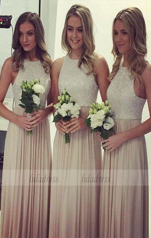 Beautiful A-Line Jewel Chiffon Long Bridesmaid Dress with Lace,BD99354