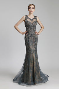 Luxury Formal Beaded Long Evening Prom Dress, LX429