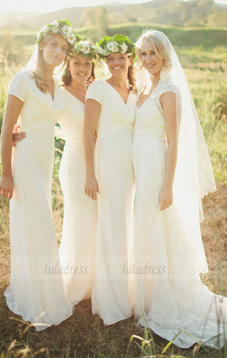 Sheath V-Neck Short Sleeves Floor-Length Chiffon Bridesmaid Dress,BD99843