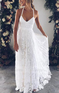 v neck lace long wedding dress, white bridal dress,BD99033