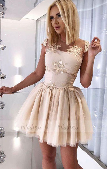 Short Homecoming Dress with Appliques,BD99489
