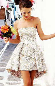 Lace Homecoming Dresses,Short Prom Dress,Hi-lo Party Dresses,Strapless Homecoming Dress,BD99061