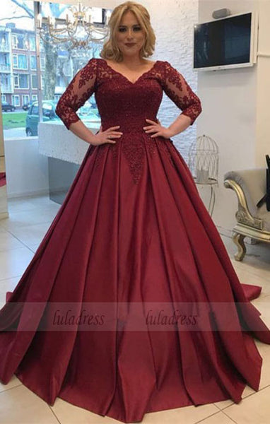 Modest Prom Dresses With 3/4 Sleeves,Elegant Wedding Gowns,Ball Gowns Wedding Dress,Plus Size Wedding Dress,BD98063