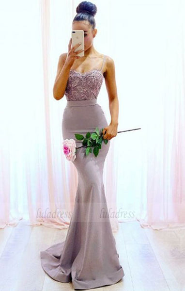 Mermaid Spaghetti Straps Sweep Train Bridesmaid Dress with Lace, long bridesmaid dresses,BD98107