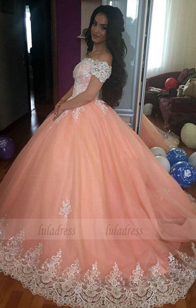 Elegant Lace Off The Shoulder Tulle Ball Gowns Quinceanera Dresses 2018 Coral Wedding Dress,BD98185