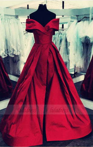 burgundy Satin V-neck Off The Shoulder Ball Gowns Prom Dresses With Leg Split,BD98062