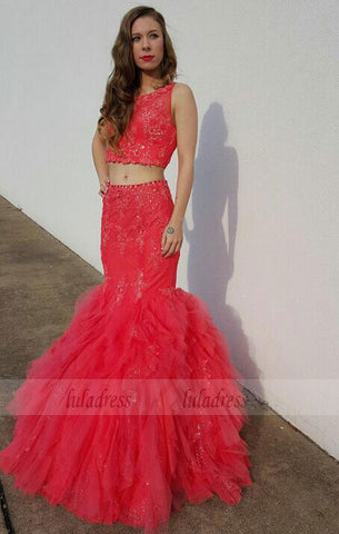 2 Pieces Party Dresses,Tulle Evening Gowns,Sparkle Formal Dress For Teens, BD98018