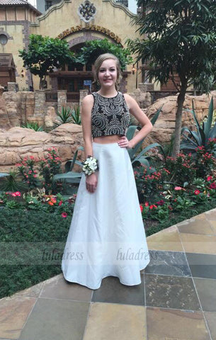 2 Pieces Party Dresses,Black Evening Gowns,Sparkle Formal Dress For Teens,BD98016