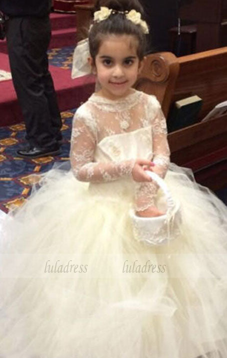 Floor Length Flower Girl Dresses Children Birthday Dress Sheer Long Sleeve Lace Kids Wedding Party Dresses ,BD99400