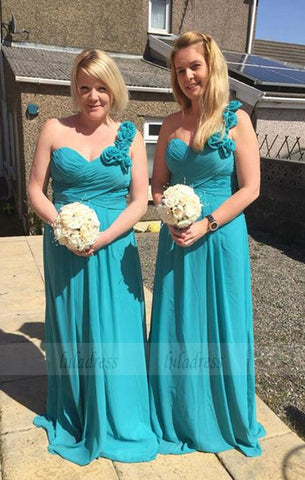 One Shoulder Chiffon Formal Dresses Floral Ruched Simple Bridesmaid Dresses,BD99872